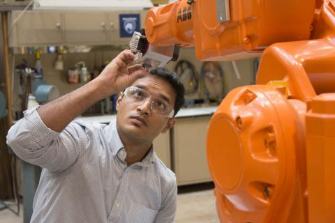 Rakshith Badarinath works in the Factory for Advanced Manufacturing Education (FAME) Lab, at Penn State.