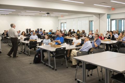 Researchers from across Penn State participating in a FEW-focused meeting aimed at building interdisciplinary teams.
