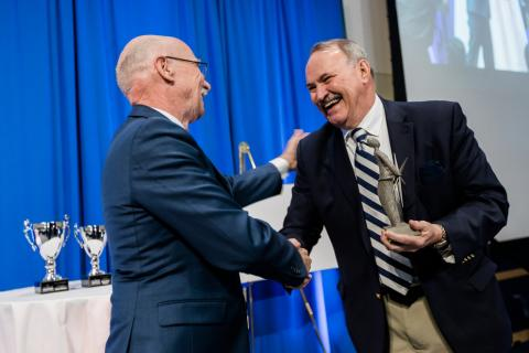 """James Adair receives the 2018 Invent Penn State """"Inventor of the Year"""" award from Vice President for Research Neil Sharkey  Imag"""