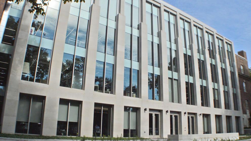 The south side of Steidle Building now has floor-to-ceiling windows that display the shared laboratory space on the building's s